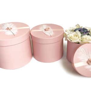 W9195 Pink Round Flower Boxes With Feather (Set of 3)