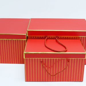 W9451red Red with Golden Grids Rectangular Flower Boxes Set of 3