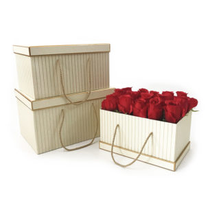 W9452 Vanilla with Golden Grids Rectangular Flower Boxes Set of 3