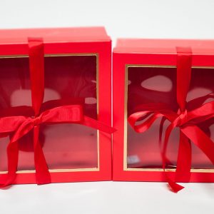 W9571red Red Square Flower Boxes With Window and Ribbon Set of 2