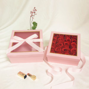 W9573 Pink Square Flower Boxes With Window and Ribbon Set of 2