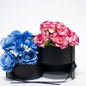 W9590 Black Round Flower Box with Window Top (Two-Layers)