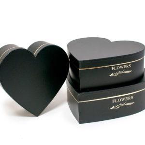 W9645 Black Heart Shape Flower Boxes Set of 3
