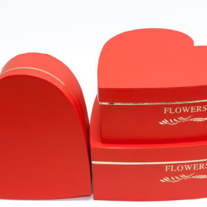W9647 Red Royal Heart Shape Flower Boxes (Set of 3)