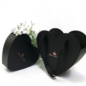 W9679 Black Heart Shape Hanger Flower Box Set of 2