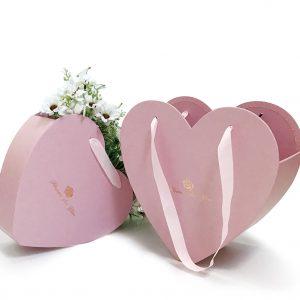 W9681 Pink Heart Shape Hanger Flower Box Set of 2