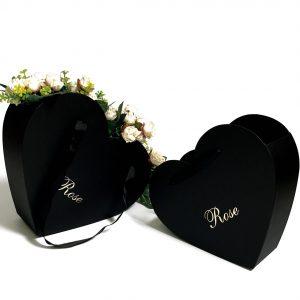 W9701 Black Heart-Shaped Hanger Flower Box Set of 2