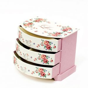 JB16004 Pink Tri Layer Jewelry Box