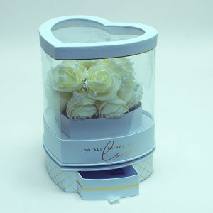 W6948 Rotatable Clear Heart Shape Flower Box with White Lid and Base