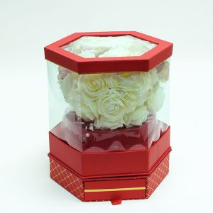 W6954 Rotatable Clear Hexagon Flower Box with Red Lid and Base