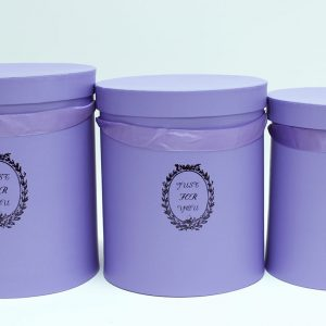 "W9217 Purple ""Just For You"" Tall Round Flower Box Set of 3"