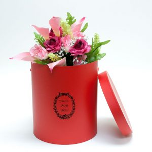 "W9217 Red White ""Just For You"" Tall Round Flower Box (Set of 3)"