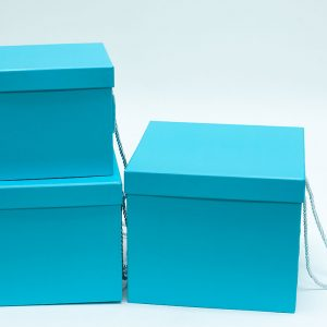 W9458 Tiffany Blue Square Flower Boxes Set of 3