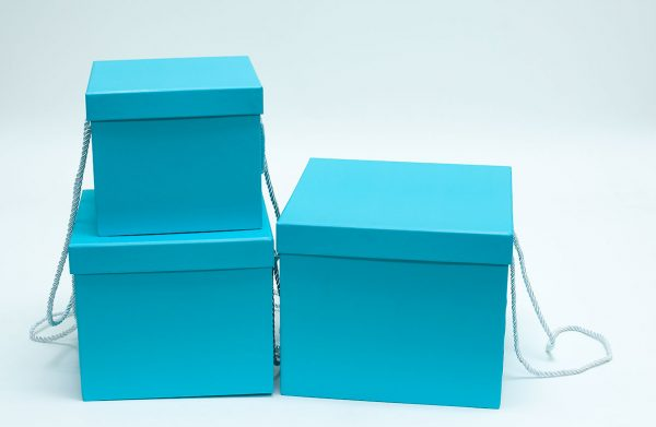 Set of 3 Tiffany Blue Square Flower Boxes