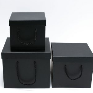 W9458 Black Square Flower Boxes Set of 3