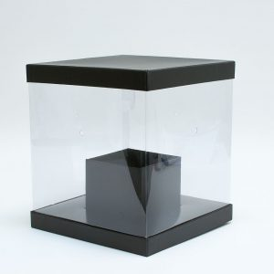 W9775 Clear Square Flower Box with Black Lid and Base