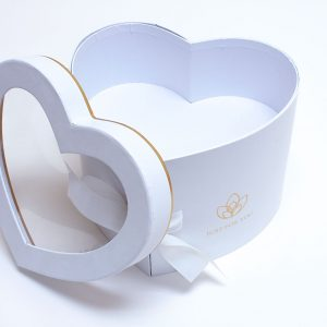 W9849 White Heart Shape Flower Box with Window Lid (Two-Layers)