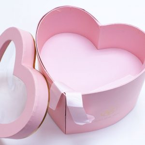 W9851 Pink Heart Shape Flower Box with Window Lid (Two-Layers)