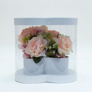 W9884 Clear Heart Shape Flower Box with White Lid and Base