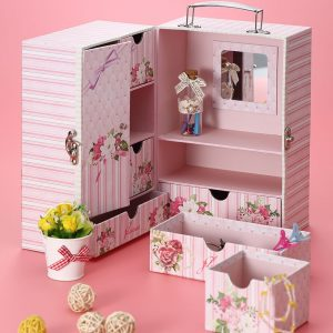 4 Pcs of YF523-Z44 Pink Multiple Compartments Jewelry Box With Fitting Mirror Clearance Sale