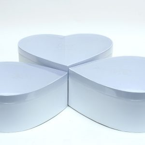 W6632 White Heart Shape Flower Boxes Set of 3 With PVC Transparent Lid