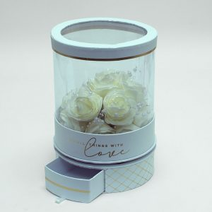 W6944 Rotatable Clear Round Shape Flower Box with White Lid and Base