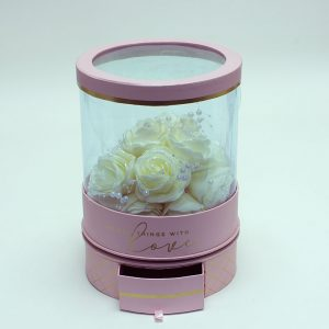 W6945 Rotatable Clear Round Shape Flower Box with Pink Lid and Base