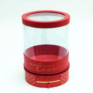 W6946 Rotatable Clear Round Shape Flower Box with Red Lid and Base