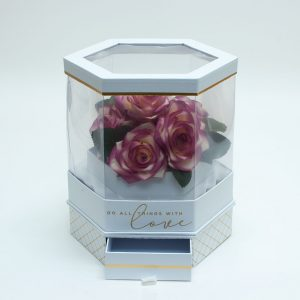 W6952 Rotatable Clear Hexagon Flower Box with White Lid and Base