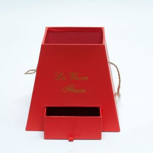 W9474 Red Square Pyramid Frustum Flower Box with Drawer