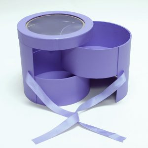 W9610 Purple Round Flower Box with Window Lid (Two-Layers)