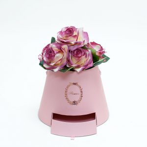 W9763 Pink Cylinder Flower Box With Drawer