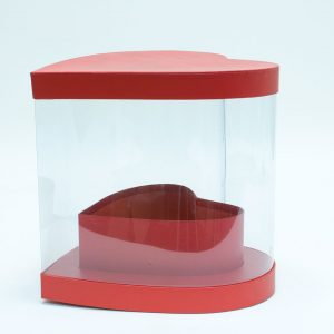 W9886 Clear Heart Shape Flower Box with Red Lid and Base