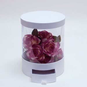 Clear Round Shape Flower Box with White Lid and Base with Drawer