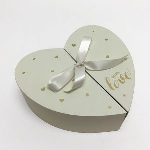 Ivory Heart Shape Flower Box with Ribbon Opens From Middle Nested Heart