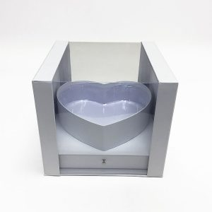 W7353 White Clear Square PVC Flower Box With Heart Shape in the Middle