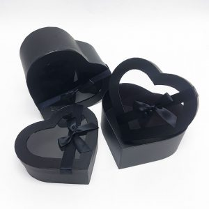 W7404 Black Heart Shape Flower Boxes Set of 3 With Ribbon