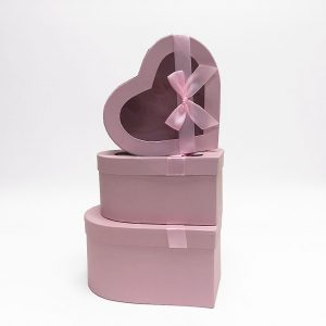 W7406 Pink Heart Shape Flower Boxes Set of 3 With Ribbon
