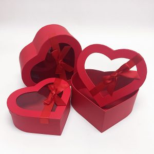 W7407 Red Heart Shape Flower Boxes Set of 3 With Ribbon