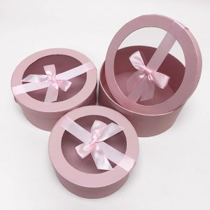 W7410 Pink Round Shape Flower Boxes Set of 3 With Ribbon