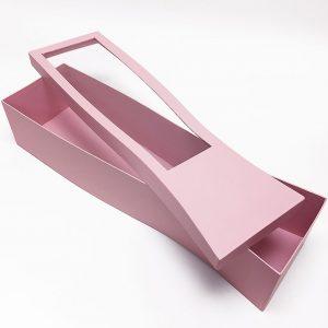 W17005pk Pink Long Rectangular Flower Box With Window For Long Stem Flowers