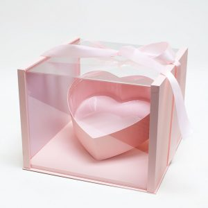 1021APink Pink Acrylic Square Flower Box Tilted Heart Center