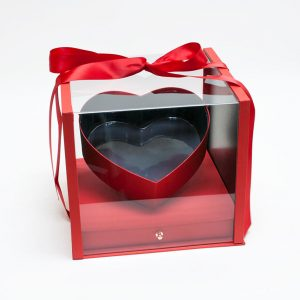 1119Ared  Red Acrylic Square Flower Box Tilted Heart Center And Drawer