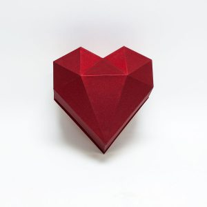 1121ARed Red Diamond Heart Flower Box