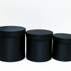 Black Cloth Round Flower Boxes Set of 3 W5036
