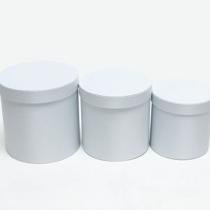 W5037 White Cloth Round Flower Boxes Set of 3