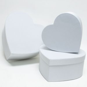 W5041 White Fabric Heart Shape Flower boxes set of 3