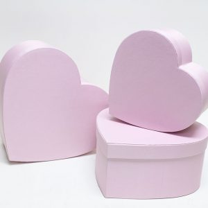W5042 Pink Fabric Heart Shape Flower boxes set of 3
