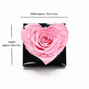XL Pink Ecuadorian Eternity Heart Shape Flowers Preserved Roses 10cm to 11cm