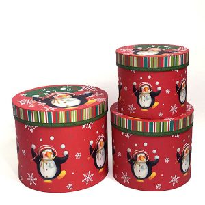 W7825 Red Round Penguins Christmas Flower Boxes Set of 3